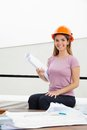 Female architect with blueprint portrait of beautiful young holding Stock Photography