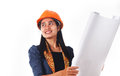 Female architect checking a drawing young isolated on white background Royalty Free Stock Photo