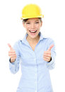 Female architect gesturing thumbs up engineer or woman portrait of cheerful isolated over white background Stock Photos