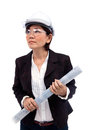 Female architect holding plan of new project use for construction theme Royalty Free Stock Photography