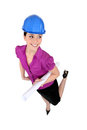 Female architect wearing hardhat Stock Photography