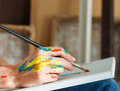 Female artist hand holding paintbrush Royalty Free Stock Photo