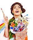 Female artist at work woman isolated Royalty Free Stock Photography