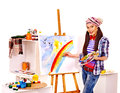Female artist at work woman isolated Royalty Free Stock Photos