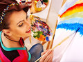Female artist at work woman isolated Royalty Free Stock Image