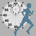 Female Athlete Runner Runs Against Stopwatch Royalty Free Stock Image