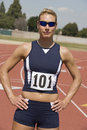 Female Athlete At Running Track Stock Photo