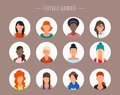 Female avatar icons vector set. People characters
