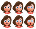 Female avatar vector character. Set of teenager girl heads