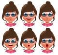 Female avatar vector character. Set of teenager girl heads