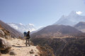 Female backpacker hikes trail to everest base camp next to valleys and mountain landscape Royalty Free Stock Images