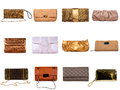 Female bags collection on white background Royalty Free Stock Image