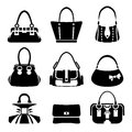 Female bags icons vector of Stock Photos