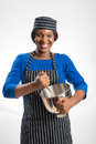 Female baker with rolling pin Royalty Free Stock Photo