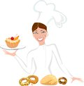 Female baker with sweet pastry smiling Royalty Free Stock Photos