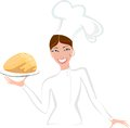 Female baker with white bread smiling Stock Photos