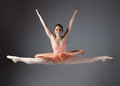 Female ballet dancer beautiful on a grey background ballerina is wearing an orange tutu pink stockings and pointe shoes Stock Image
