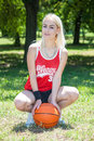 Female basketball player close up of Royalty Free Stock Photos