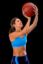 Female basketball player shooting Royalty Free Stock Photo