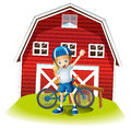 A female biker standing in front of the red barnhouse illustration on white background Royalty Free Stock Image