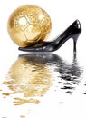 Female black shoes with football ball. Stock Photos