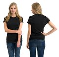 Female with blank black shirt and long hair photo of a teenage blond posing a front back views ready for your artwork or Stock Photography