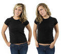 Female with blank black shirts Stock Photography