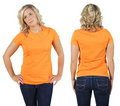 Female with blank orange shirt Royalty Free Stock Photography
