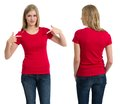 Female with blank red shirt and long hair photo of a teenage blond posing a front back views ready for your artwork or Royalty Free Stock Image