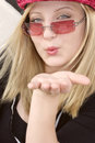 female Blowing kiss goodye  Stock Photo