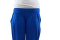 Female blue tracksuit closeup body isolated empty space Stock Images