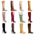 Female boots collection on white background Royalty Free Stock Photos