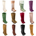 Female boots collection on white background Stock Photo