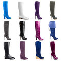 Female boots collection on white background Royalty Free Stock Photo