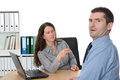 Female boss is angry instructing issue for her assistant Royalty Free Stock Photo