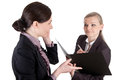 Female boss dictate picture of a business womangives a dictation to her clerk Stock Image