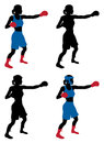 Female boxer boxing an illustration of a or boxercise woman or working out color and simple silhouette outline versions included Stock Images