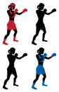 Female boxer boxing an illustration of a or boxercise woman or working out color and simple silhouette outline versions included Stock Photos