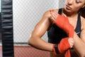 Female boxer does bandage Royalty Free Stock Photo