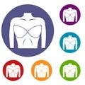 Female breast in a bra icons set