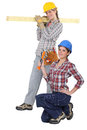 Female builders Royalty Free Stock Images