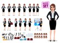 Female business characters set with office woman standing and talking Royalty Free Stock Photo