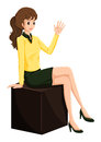 A female businesswoman sitting on a wooden cube illustration of white background Royalty Free Stock Images