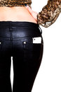 Female butt in leather pants white background Stock Photos