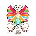 Female butterfly face elegant woman decal creativity beauty freedom concept Royalty Free Stock Photos