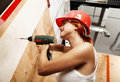 Female carpenter on duty Stock Image