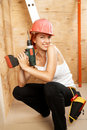 Female carpenter on duty Royalty Free Stock Photography