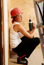 Female carpenter on duty Royalty Free Stock Image
