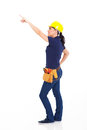Female carpenter pointing empty copy space Stock Images