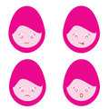 Female cartoon smiley faces cute isolated on white Royalty Free Stock Image